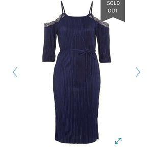 Topshop Plisse Lace Cold Shoulder Dress 6